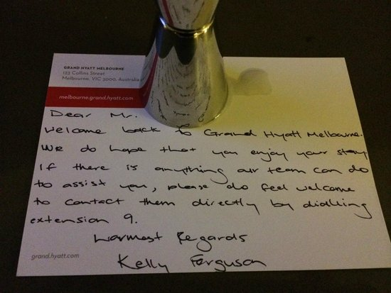 Grand Hyatt Melbourne: Personalised note for returning