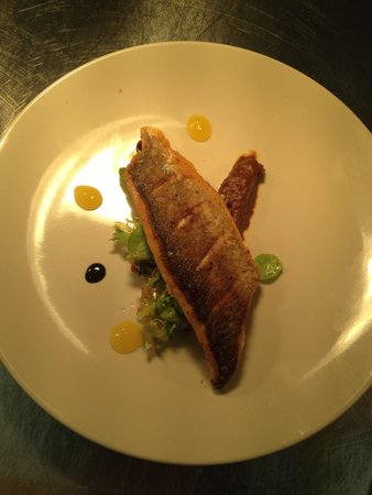 The Crown Inn: Sea bass with burnt apple purée and orange syrup