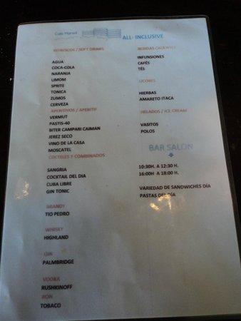 Hotel Club Cala Marsal: liste des consos autorisées en tout inclus les reste étant payant