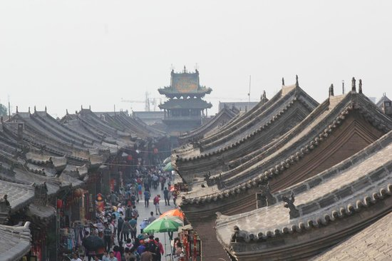 Pingyao Ancient Government Office: 南門から町の中心を望む
