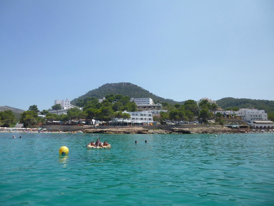 Presidente Hotel: Portinatx from the sea; Hotel Presidente in centre.