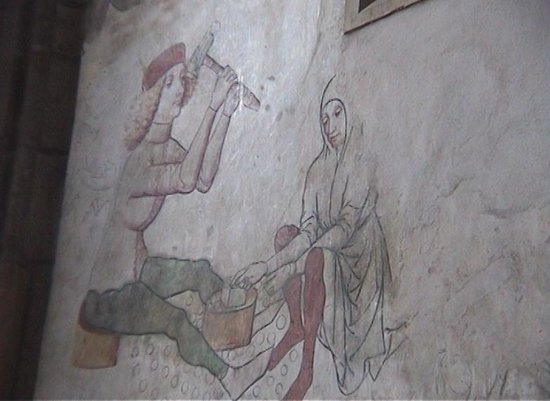 Cathedral of St. Barbara: Fresco of coins being made