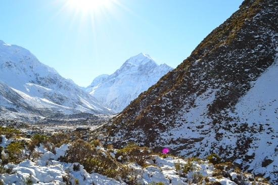Hooker Valley Track: View of Mt Cook after the second of three rope bridges
