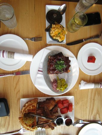 Yardbird - Southern Table & Bar : Chicken & Waffles, Ribs and Mac n Cheese. We are ready to do some damage :)