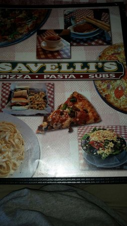 Savelli's Pizza: Their menu cover.
