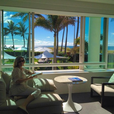 Our gorgeous room overlooking pool and beach beyond