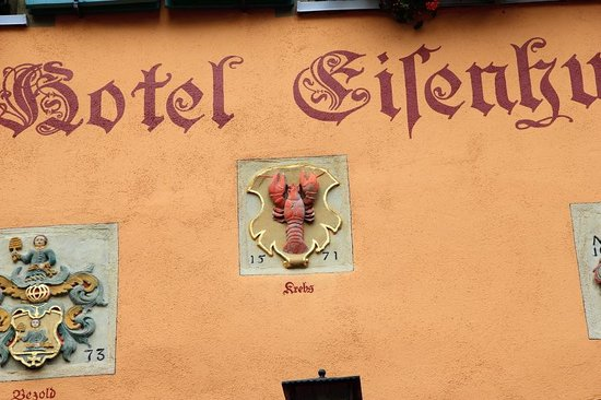 Hotel Eisenhut: One of the family crests:The lobster!!