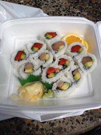 Tough City Sushi: Salmon and tuna avo rolls ( take away)