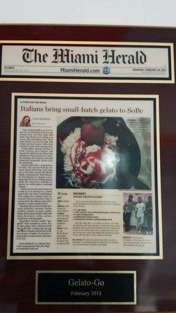 Gelato-go South Beach : Le prime pagine sui quotidiani