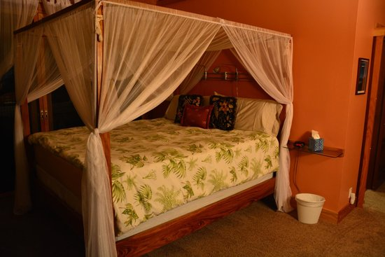 At the Craters Edge: Canopy bed in Haiku Garden room