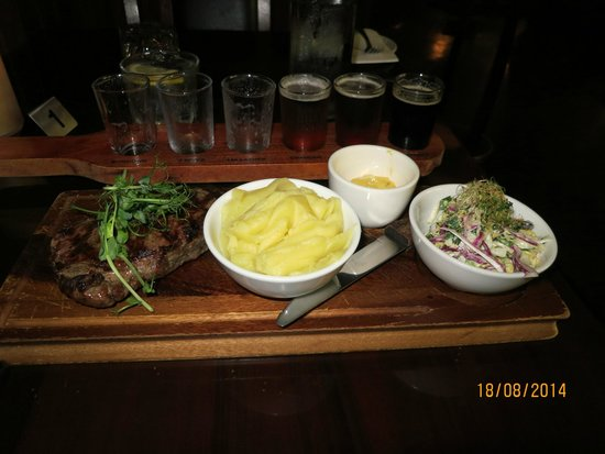 The Generous Squire: The AUD$33 steak, mashed potato and salad were good!