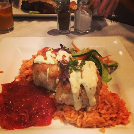 Belford's Savannah: Crab cake entree with aioli, Spanish rice, and salsa