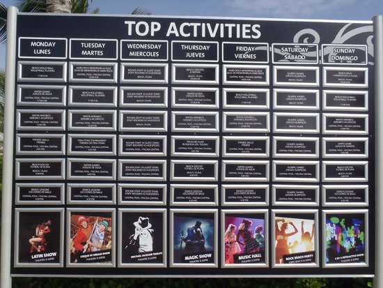 Hard Rock Hotel & Casino Punta Cana: Schedule of activiies
