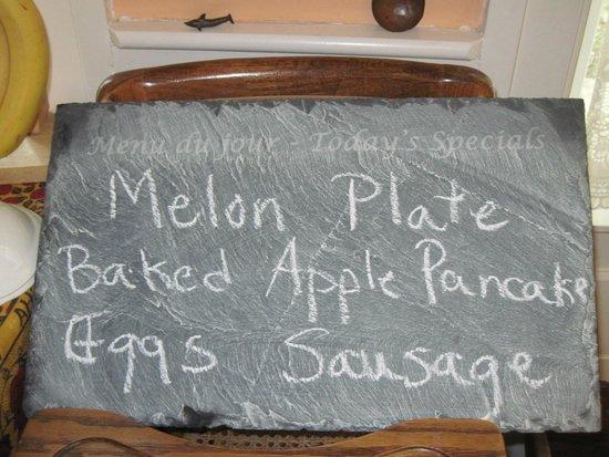 Maple House Bed & Breakfast : Slate menu board Tim and Andi gave us.