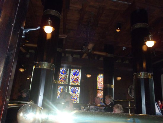 The Five Fishermen (upstairs only): Lots of woods and teinted windows