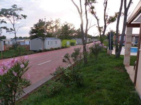 CampingIN Park Umag: Blick von der Terrasse aufs gegenüberliegende Haus und Pool