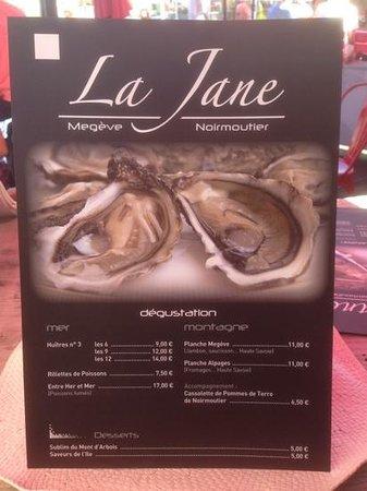 Bar a huitre Jane : la carte