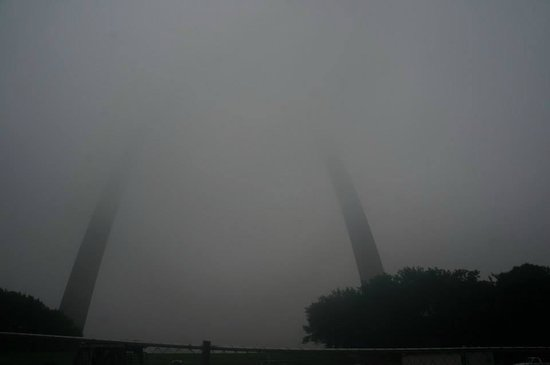 The Gateway Arch: So Foggy, even up close you could barely see the arch!