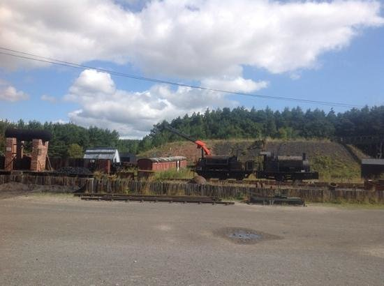 Beamish Museum: old tram being lifted onto a low loader...