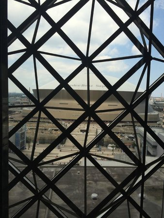 Hyatt Regency New Orleans: SuperDome from the Glass Elevator