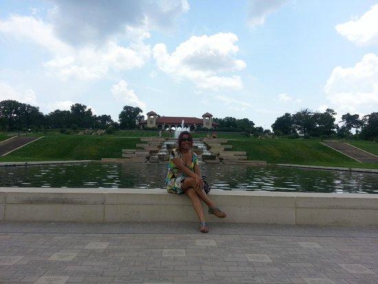 St. Louis Zoo: Lago en medio del zoo simulando el partenon griego