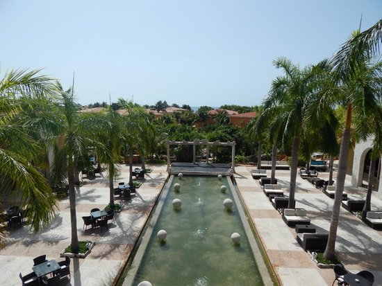 Ocean Maya Royale: From the spa looking down to the entertainment/dining area