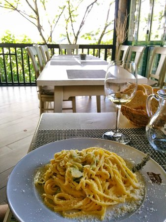 Tourist Farm Breg: Noodles with Lavender, Almonds, and Zucchini