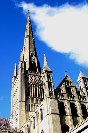 Norwich Cathedral: from the grass quadrangle