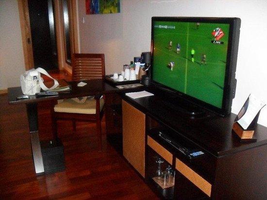 Vakarufalhi Island Resort : Il televisore della camera e lettore dvd