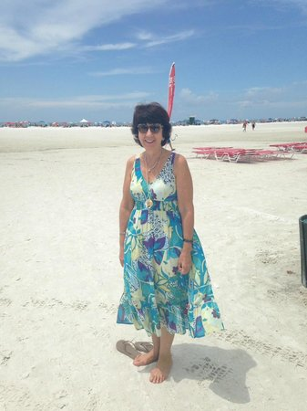 Siesta Beach: My friend dipping her toes in the sand!