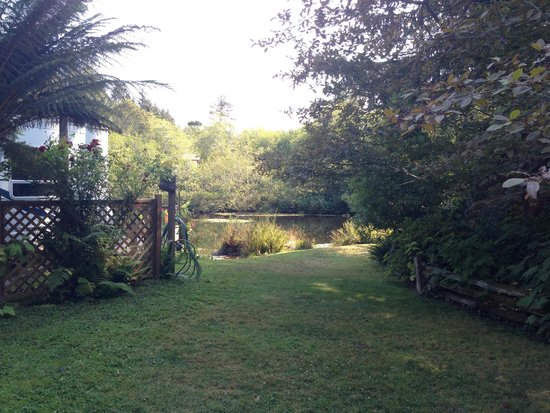Azalea Glen RV Resort: A wonderful lawn area that leads to the pond and more garden areas