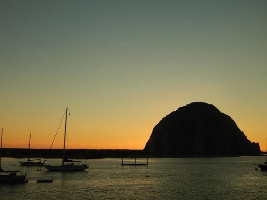 Fish Bonez: view of Morro Rock from the restaurant at sunset