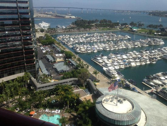 Marriott Marquis San Diego Marina: Pool and Harbor below, Coronado Bridge in background
