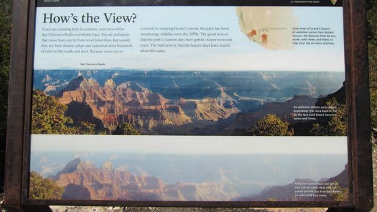 Grand Canyon North Rim : Sign on the influence of air pollution