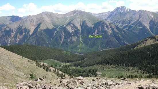 Mount Elbert Lodge: View of our cabin from the Ridge