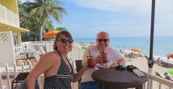 Cheers, from the Sandbar Grille's deck.