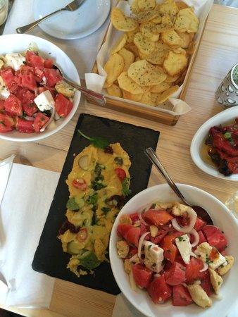 Raki Ba Raki: Fried potatoes, santorini fava beans and summer tomato salad