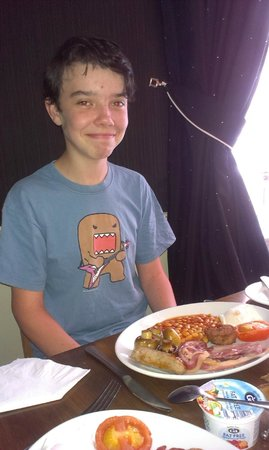 The White Hart: Happy son with breakfast