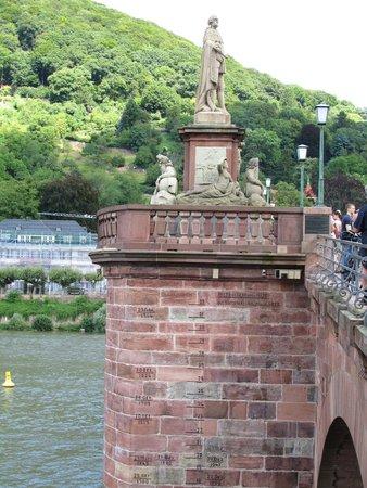 Carl Theodor Old Bridge (Alte Brucke): Flood levels and dates on the bridge