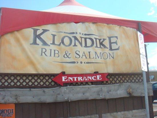Klondike Rib and Salmon BBQ: sign