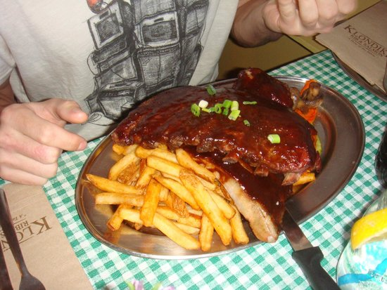 Klondike Rib and Salmon BBQ: Looks good but way tough!