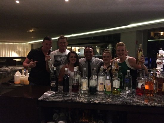 Grand Oasis Sens: us at the lobby bar with daniel