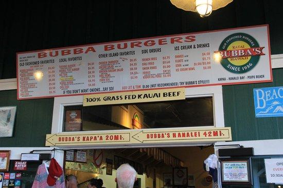 Bubba Burgers : Bubba Burger menu August 2014