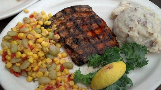 The Back Porch: Amberjack grilled fish and twice baked potatoe