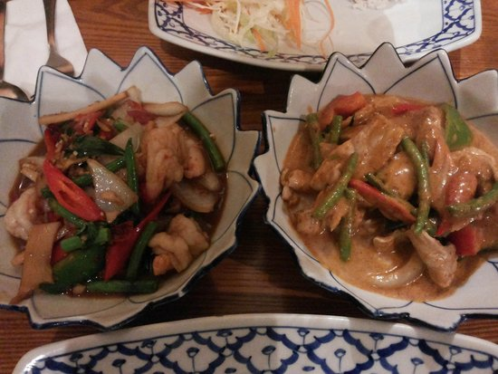 The Cricketers: Pad Kra Pao with prawns & Panang curry with pork
