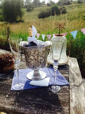 Mill House B&B: Fizz in the Garden on arrival