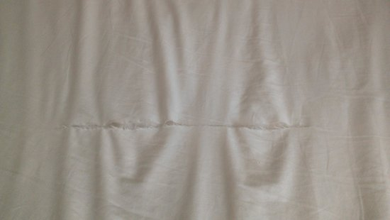Baymont Inn & Suites Bridgeport/Frankenmuth: Ripped sheets