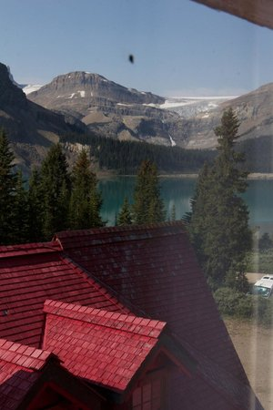 "Num-Ti-Jah Lodge: The Bow Glacier from ""glacier view room"", above staff accommodation. Better views from other roo"