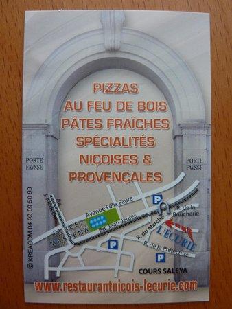 L'Ecurie Restaurant : La carte verso