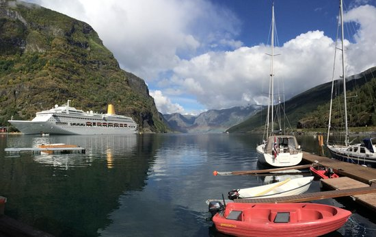Flam Marina and Appartement Cafe: View from covered terrace.